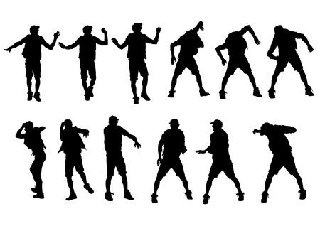 hip hop silhouette: Danser boy in rap style on white background