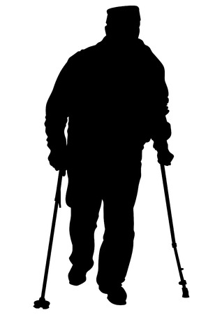 lasting: Two elderly people with cane one white background Illustration