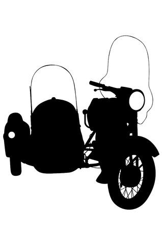 motorized: Old retro bike on white background Illustration