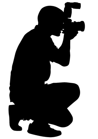 Man with a camera on white background Illustration