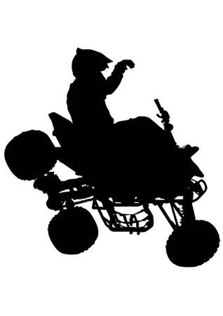 atv: Silhouettes athletes ATV during races on white background