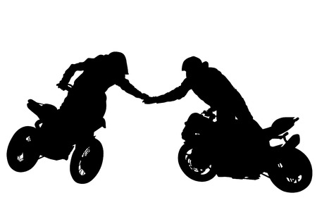 motorcyclist: Motorcyclist performed extreme stunts on a white background Illustration