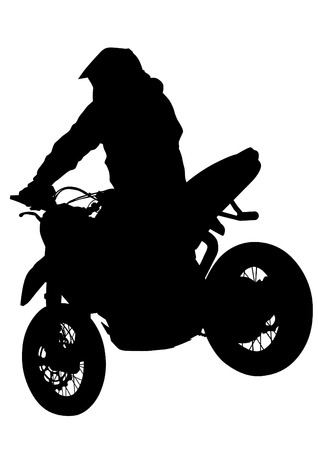 Motorcyclist performed extreme stunts on a white background Illustration