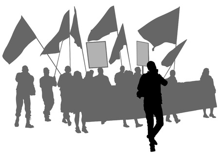 anarchy: People of anarchia with large flags on white background