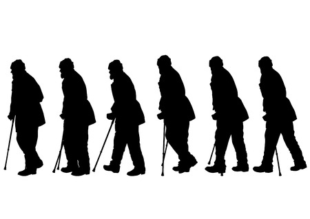 lasting: Elderly people with cane one white background