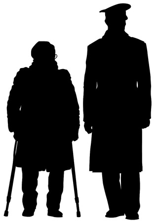 silueta hombre: Dibujo vectorial de dos personas de edad avanzada con ca�a