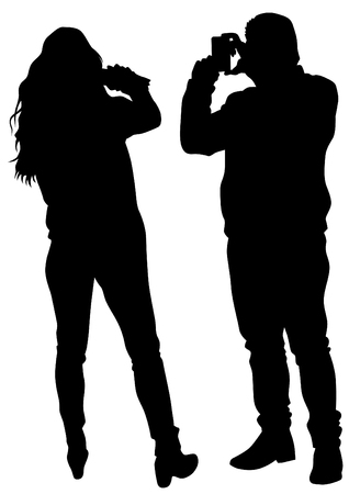 creative shot: Man and girl with photo camera on white background