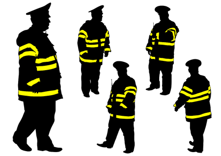 car clothes: People of special police force on white background