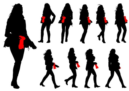 Silhouette girls with a camera on white background Vector