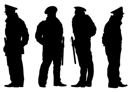 policeman: People of special police force on white background