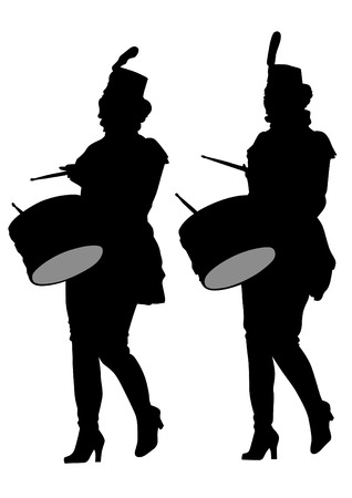 marching band: Younge girls with big drums on white background