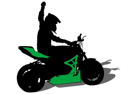performed: Motorcyclist performed extreme stunts on a white background Illustration