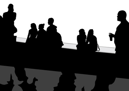 People at bus stop on white background Vector