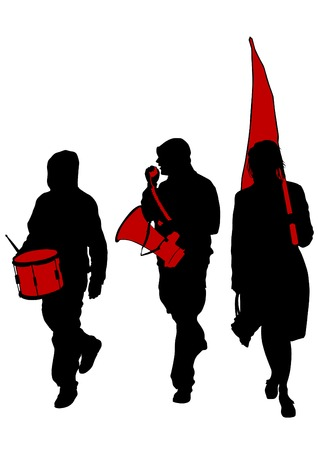 anarchist: People of anarchia with large flags on white background