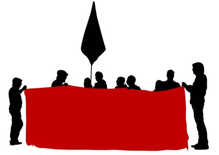 objection: People of anarchia with large flags on white background