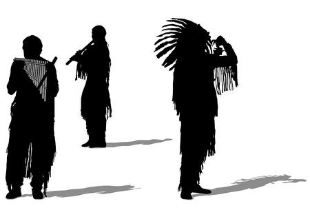 chieftain: Sagome di strumenti musicali indiani su uno sfondo bianco