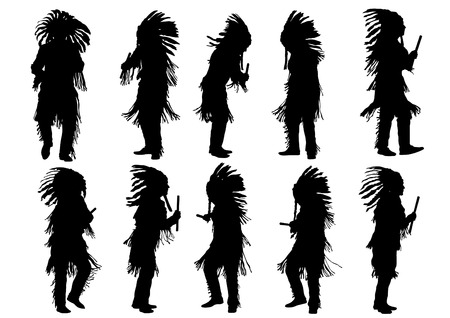 native american indian: Silhouettes of Indian musical instruments on a white background