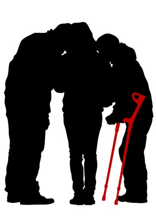 lasting: Disabled people with cane one white background Illustration