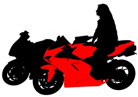 Silhouettes of motorcycl and baeuty women on whit background