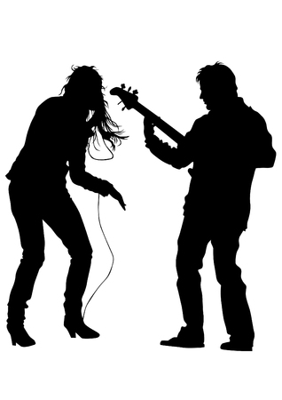 bass guitar women: Beautiful women and man whit microphon on white background