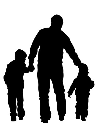 family holiday: Families people with little child on white background