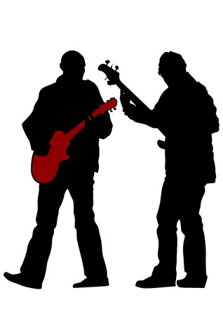 guitar background: Guitar rock band on a white background Illustration
