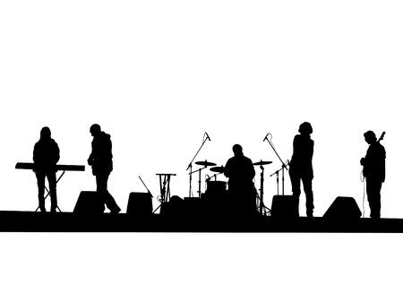 白い背景にロック ・ バンドのコンサート