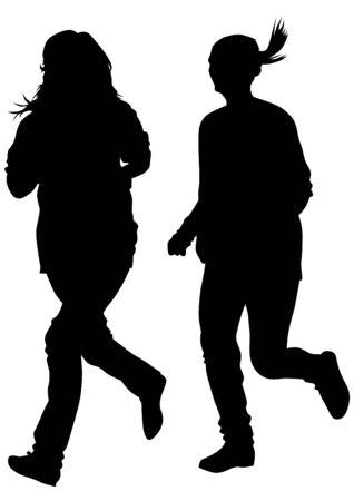 corriendo: Atletas de la mujer en carrera a pie en el fondo blanco