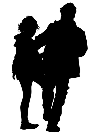 affectionate actions: Silhouettes of men and women on a white background Illustration