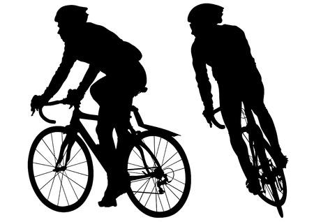 bike vector: Siluetas de personas en una moto deportiva sobre un fondo blanco