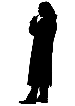 piccolo: Flutist musician silhouette on a white background