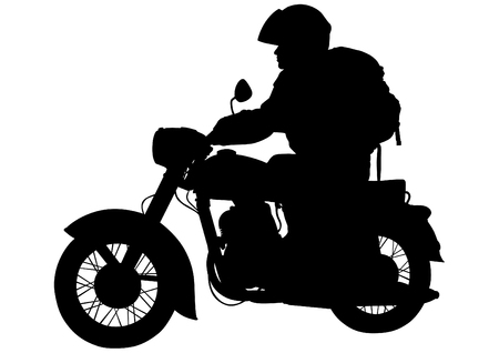 motorcyclist: Motorcyclist on bike on a white background