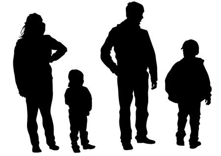 silueta niño: Familias personas con niño pequeño en el fondo blanco