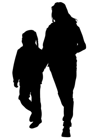 woman walk: Silhouette of a mother and daughter on the walk