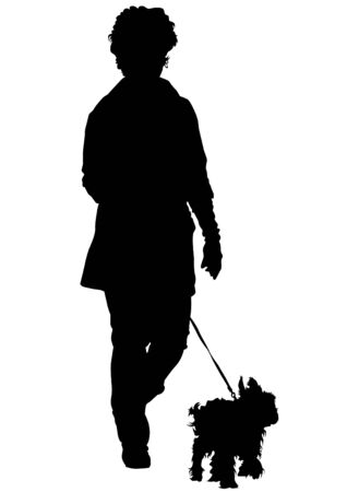 dog to walk: Lady with her dog on a white background Illustration