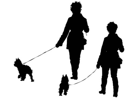 dog leash: Lady with her dog on a white background Illustration