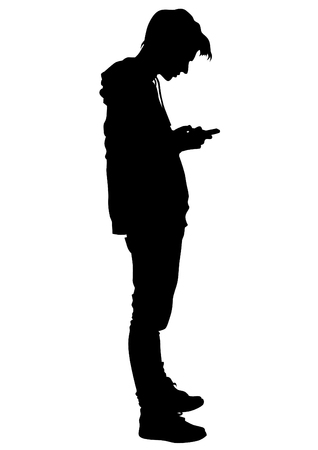 Young man with a phone on a white background Vectores