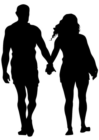 heterosexual: Couple of young guy and girl on white background