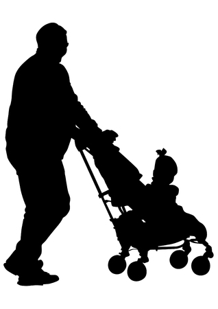 father and son holding hands: Silhouette father and children on white background