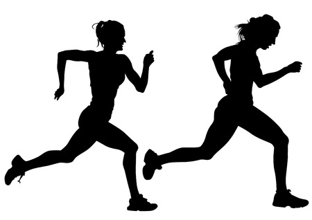 running race: Woman athletes on running race on white background