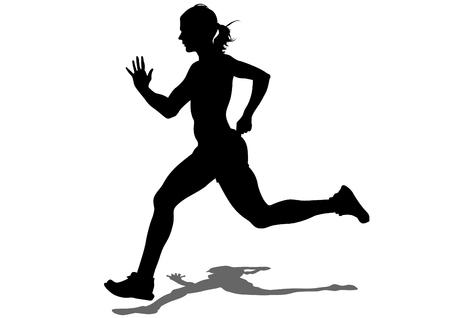 deportista: Atletas de la mujer en carrera a pie en el fondo blanco