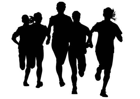 men running: Woman athletes on running race on white background