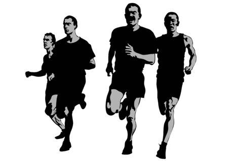 hombres corriendo: Los atletas en carrera a pie en el fondo blanco