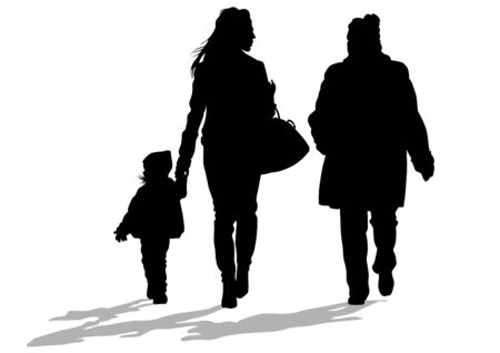 woman walk: Silhouette of a mother and daughter on white background Illustration