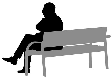 park bench: Man with glasses on a bench on a white background Illustration