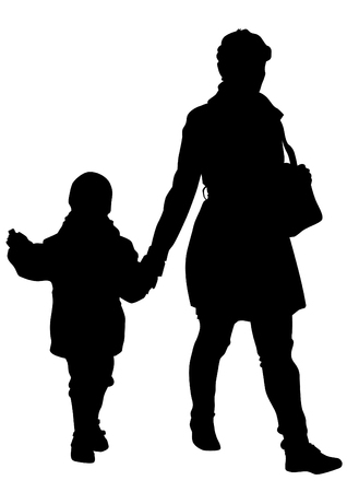 mom daughter: Silhouette of a mother and daughter on white background Illustration