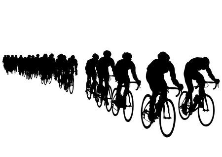 cyclist silhouette: Sport man whit bike on white background