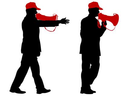 megafono: El hombre que llevaba una gorra con un megáfono sobre un fondo blanco Vectores