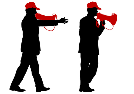 megaphone: Man wearing a cap with a megaphone on a white background