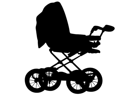 nursing mother: Baby carriage on a white background Illustration